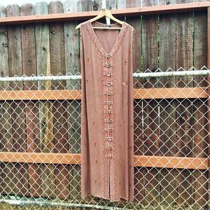 Kaaku Mineral Wash Embroidered Maxi Tieback Dress